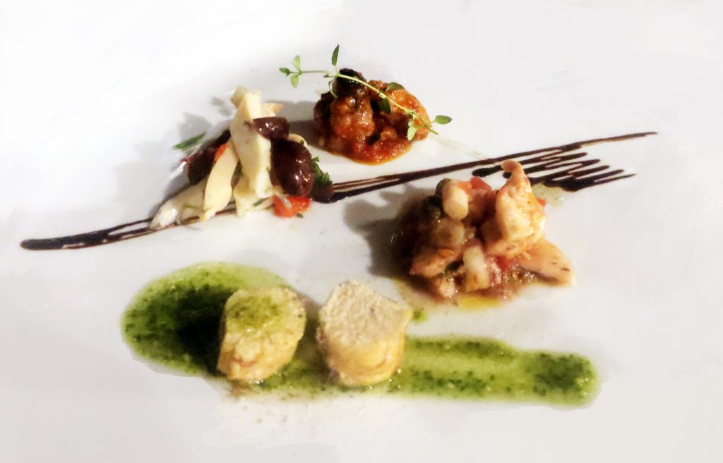 hobotnica sa sezamom, marinirana sipa sa maslinama, lubinova ikra i marinirani gof Foto: Josip Novosel, Flash.hr