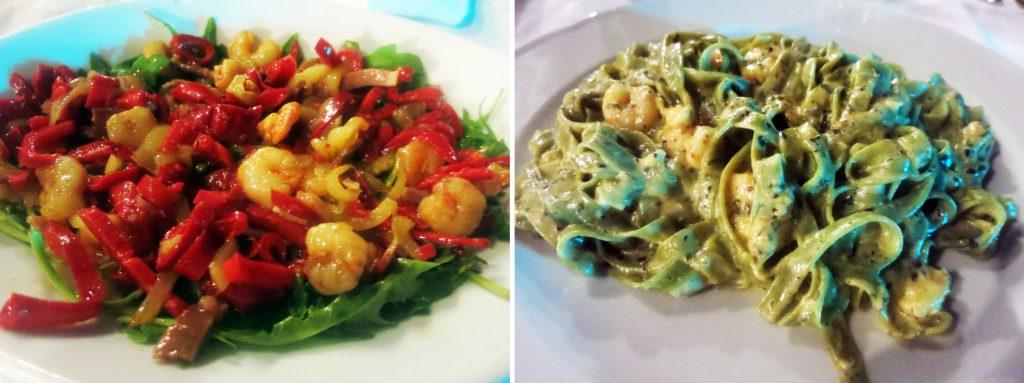 Salata Diavolo i zelena pašta s kozicama - Restoran Santo - Bol - Brač, foto: Josip Novosel, Flash.hr