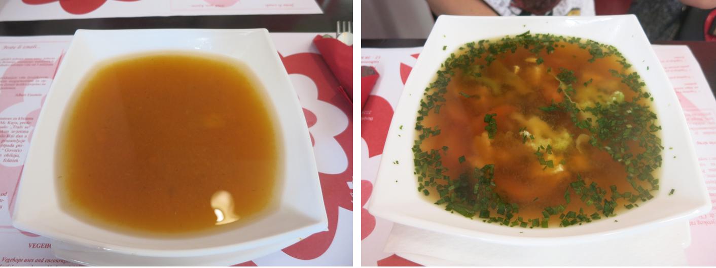Vegehop restoran Krem juha od mrkve i đumbira i Miso juha Foto: Flash.hr