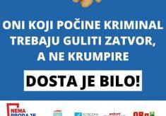"""Koalicija """"NEMA PRODAJE""""  – KRIMINALCI GULE KRUMPIRE. VRATITE UKRADENO. DOSTA JE KORUPCIJE U PRAVOSUĐU!"""